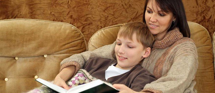 reading aloud to older child