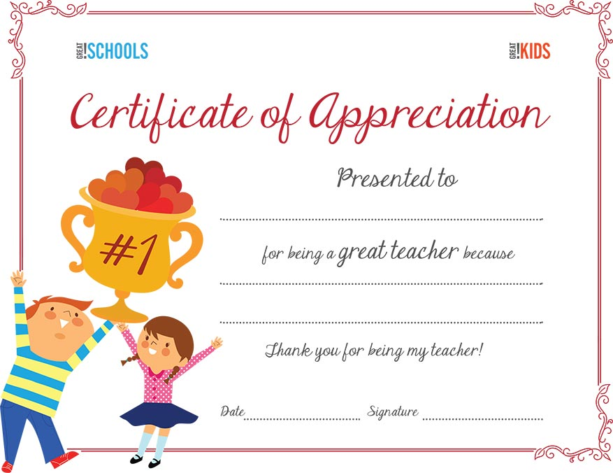 teacher appreciation certificate parenting