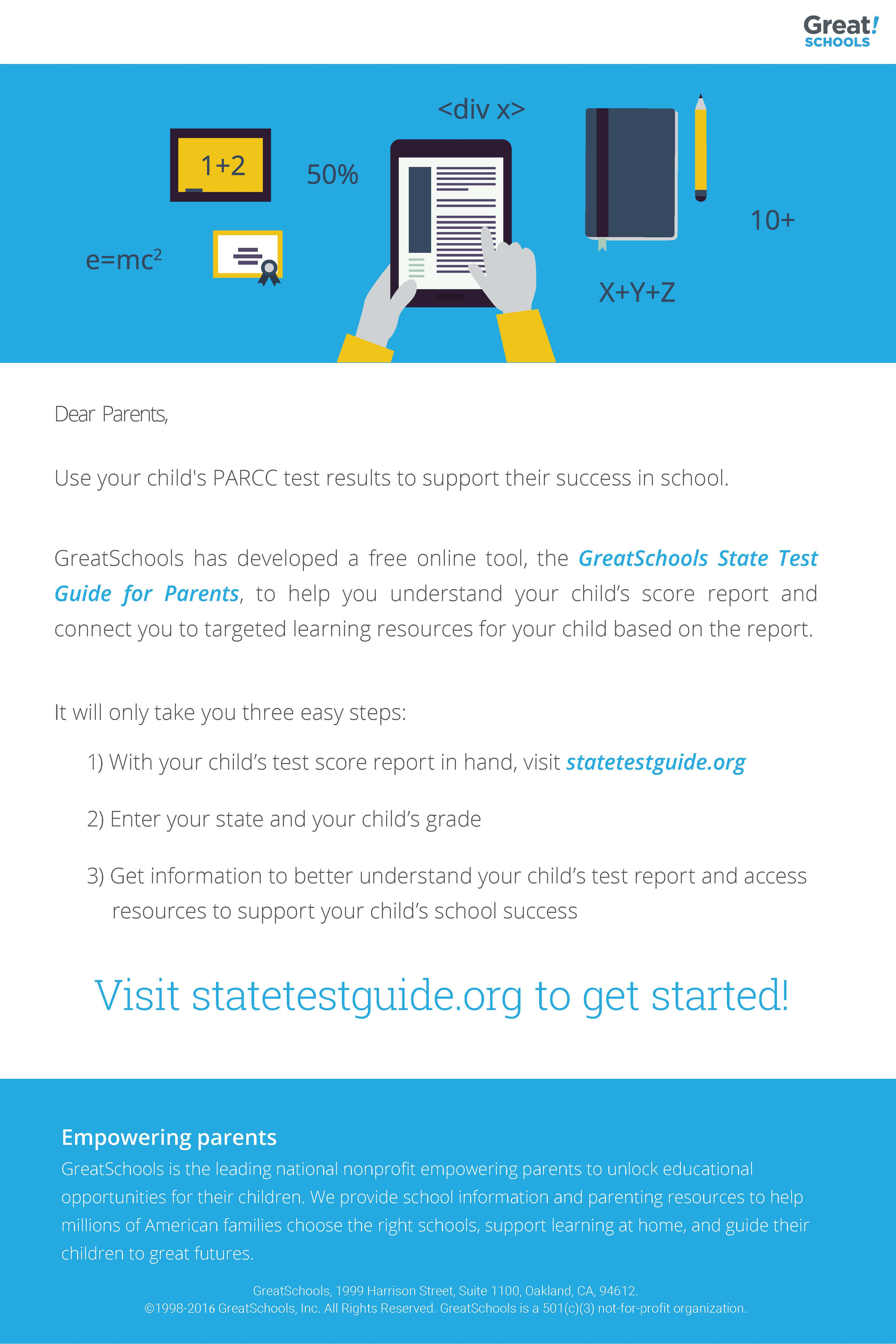 Worksheet Grade Schools.org greatschools state test guide for parents partner toolkit parent email parcc