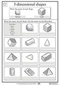 2nd grade geometry worksheets 3 d shapes. Black Bedroom Furniture Sets. Home Design Ideas