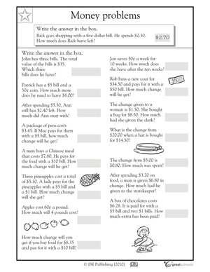 Money word problem worksheets - Counting coin | GreatSchools