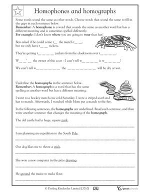 great writing worksheets: grade 5 - Homophones and homographs ...